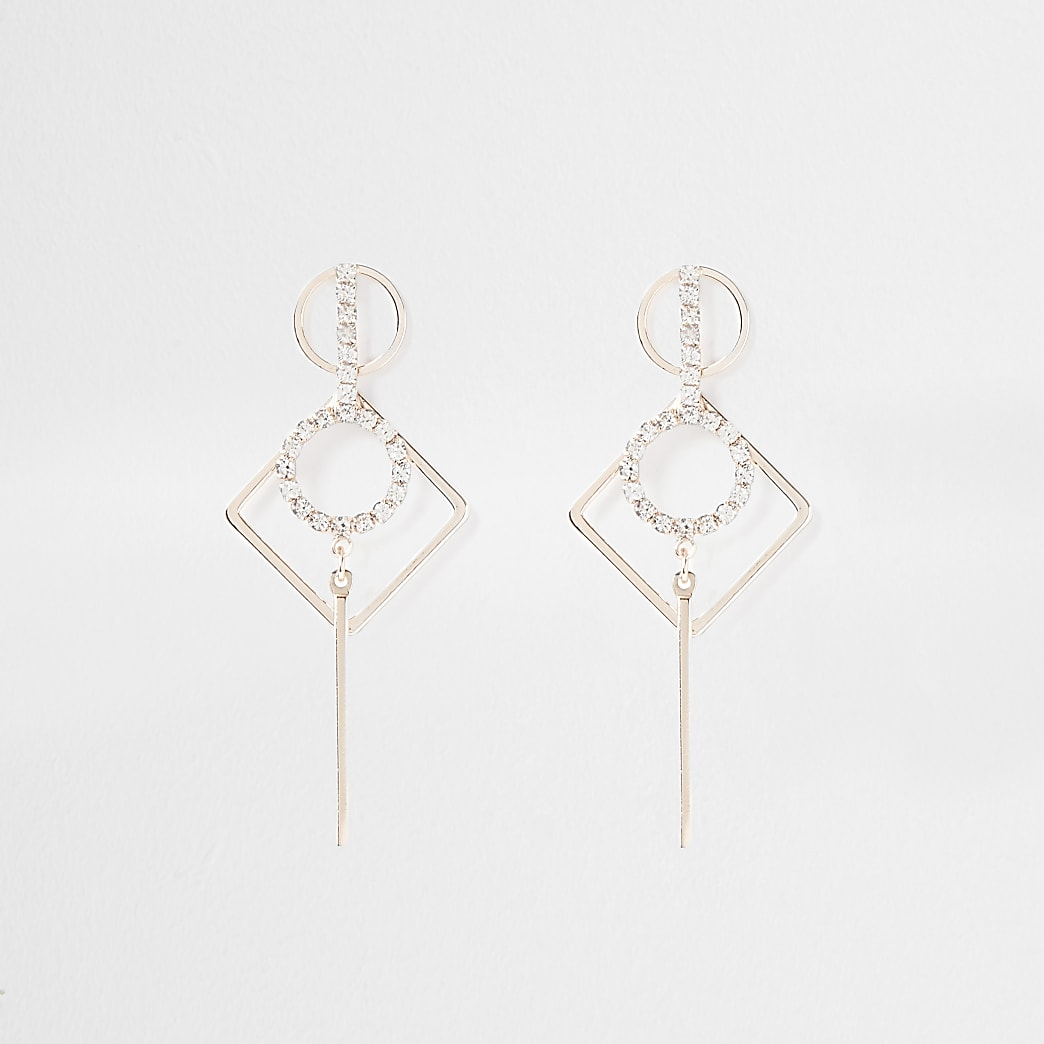 Rose gold paved drop earrings