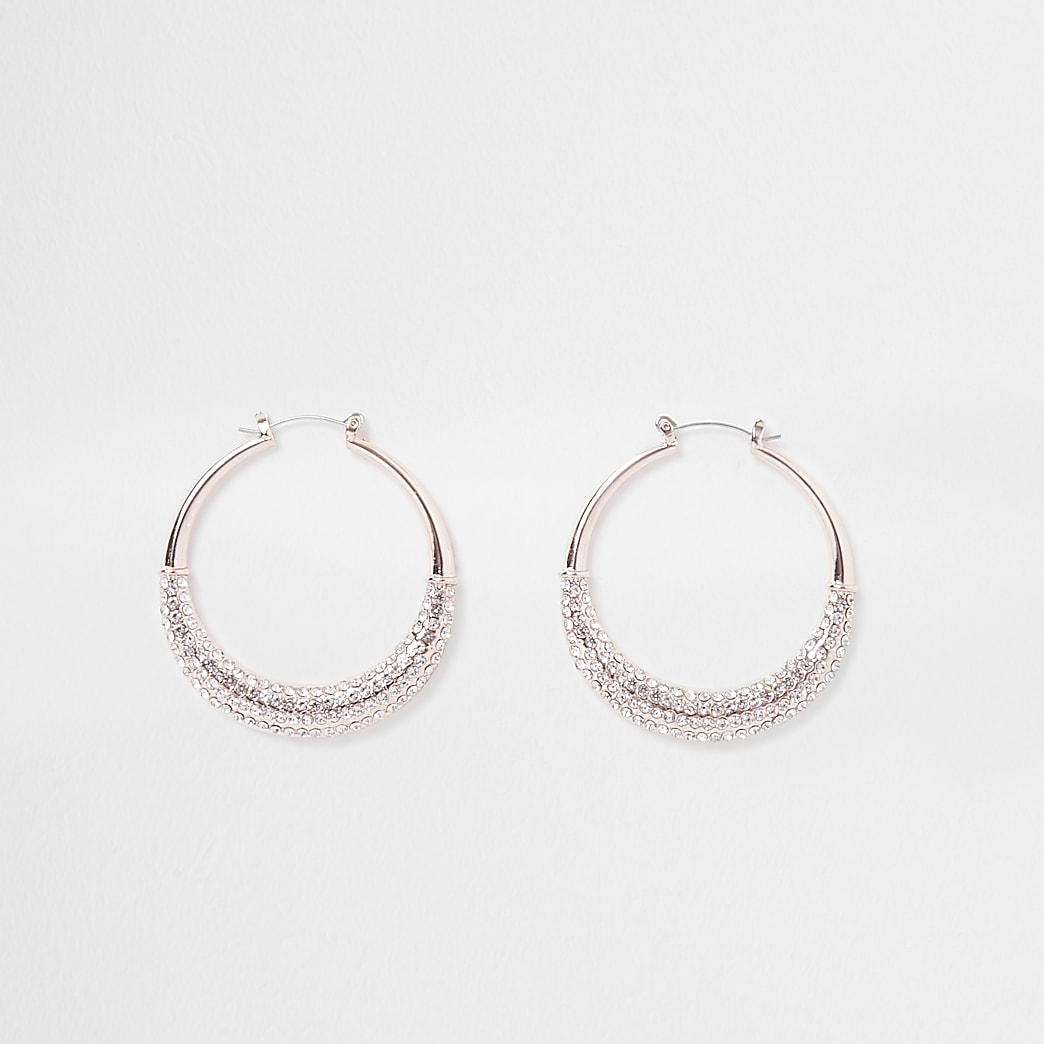 Rose gold paved sparkle hoop earrings