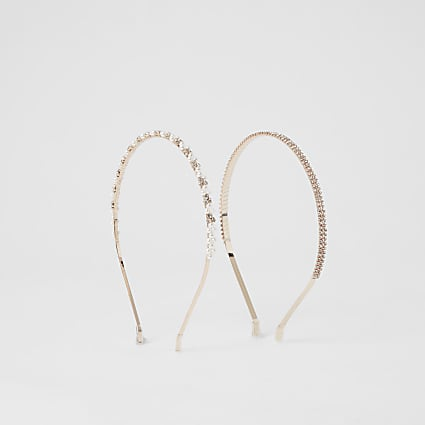 Rose gold pearl diamante 2 pack alice band