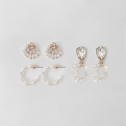 Rose gold pearl earrings 3 pack