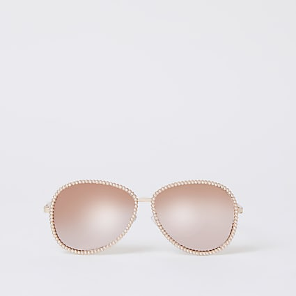 Rose gold pearl embellish aviator sunglasses