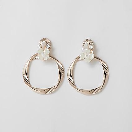 Rose gold pearl floral ring drop earrings