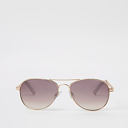 Rose gold pink lens chain aviator sunglasses