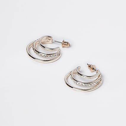 Rose Gold Rhinestone Split Hoop Earring