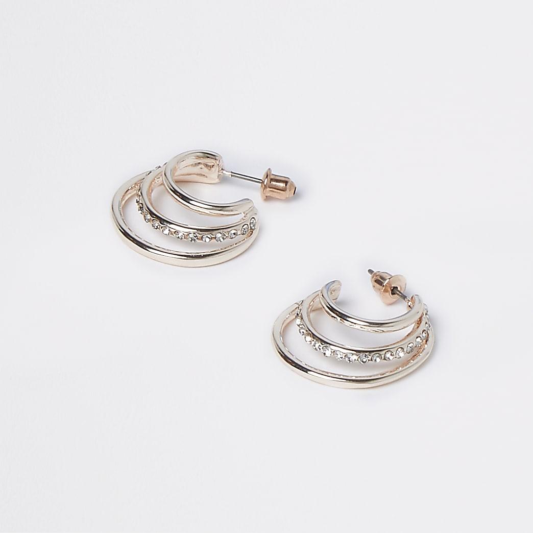 Rose Gold Rhinestone Split Hoop Earring