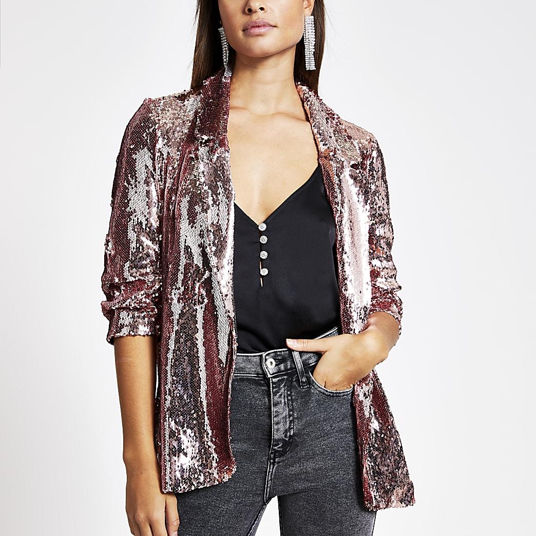 Rose gold sequin embellished blazer
