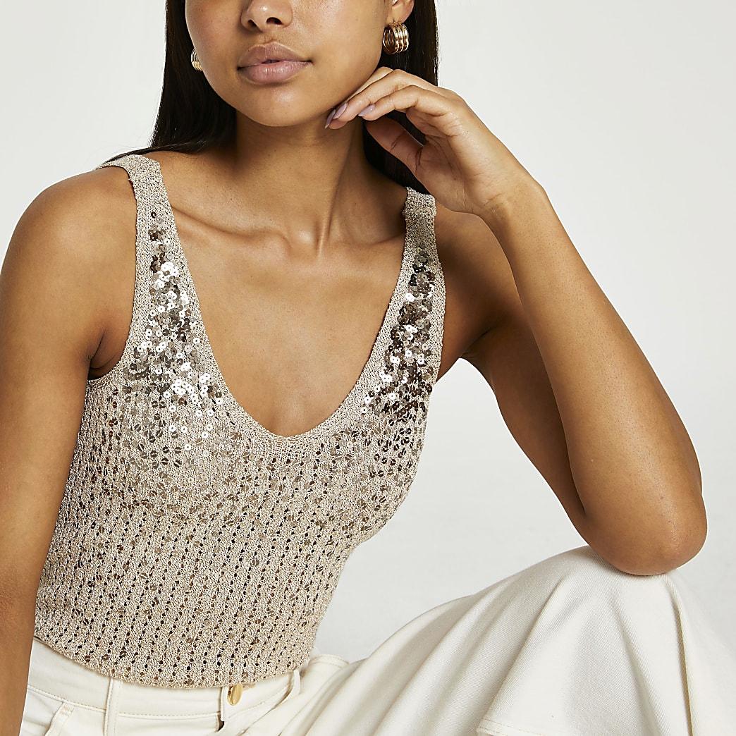Rose gold sequin stitch vest