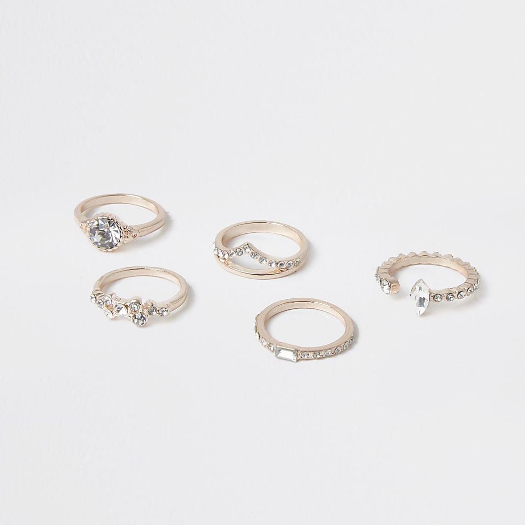 Rose gold stacking rings 5 pack