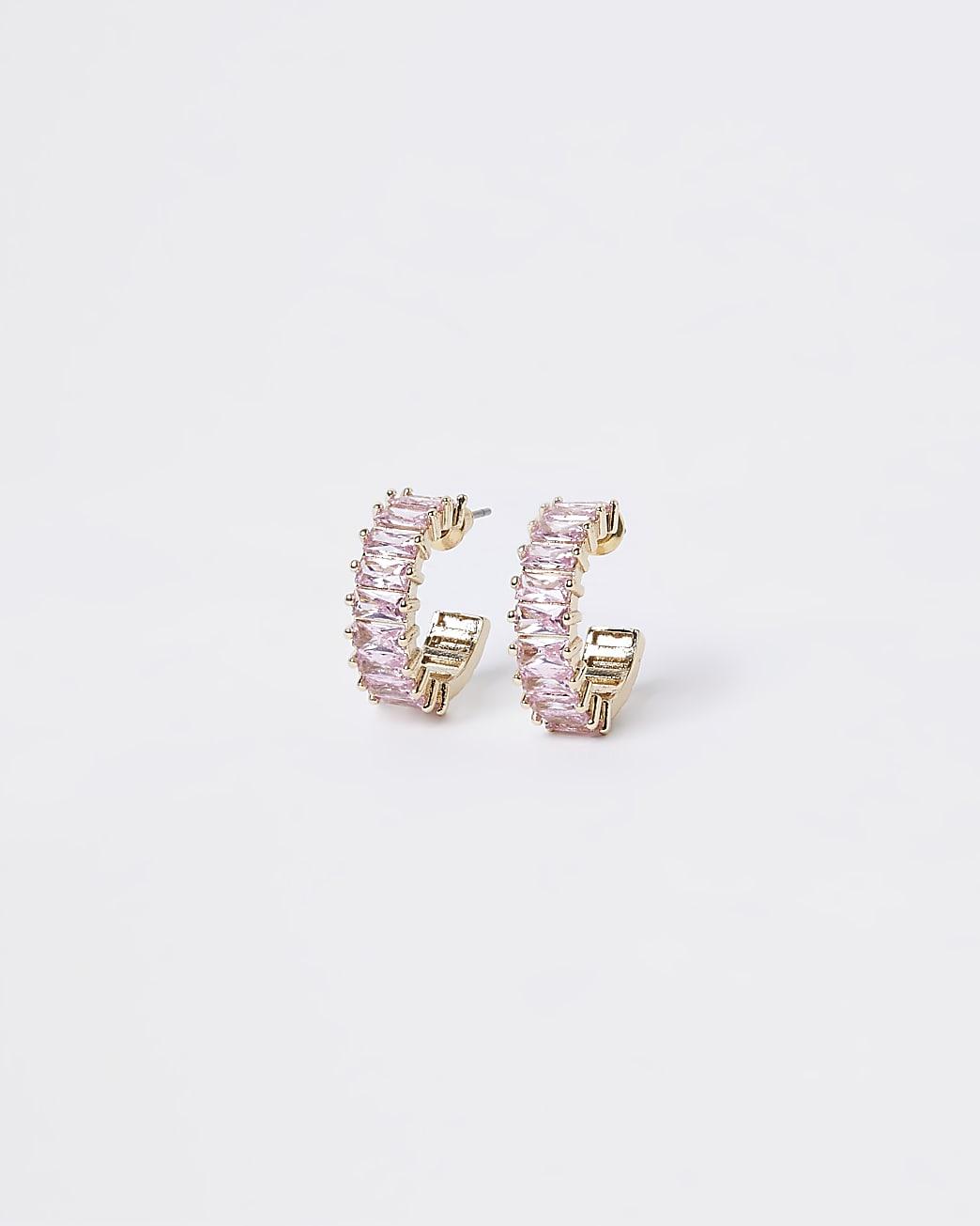 Rose gold stone hoop earrings