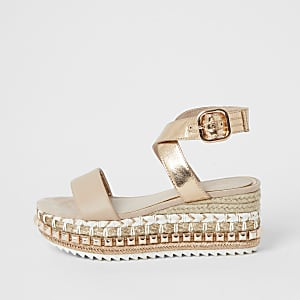 Rose gold studded espadrille flatform sandals