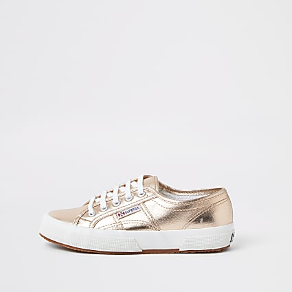 Rose gold Superga classic runner trainers