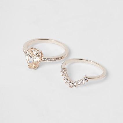 Rose gold teardrop diamante ring pack