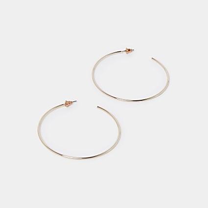 Rose gold thin hoop earrings