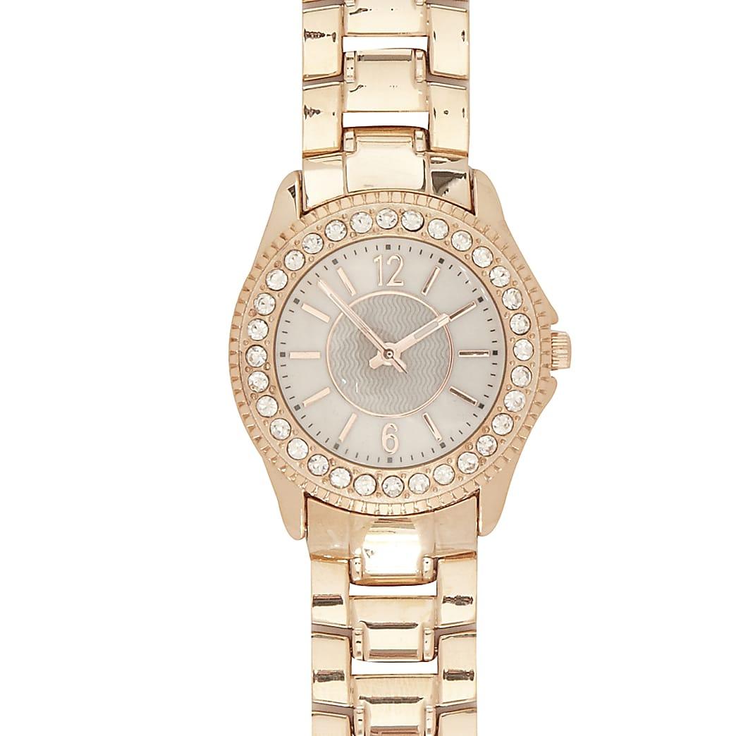 Rose gold tone metal diamante bracelet watch