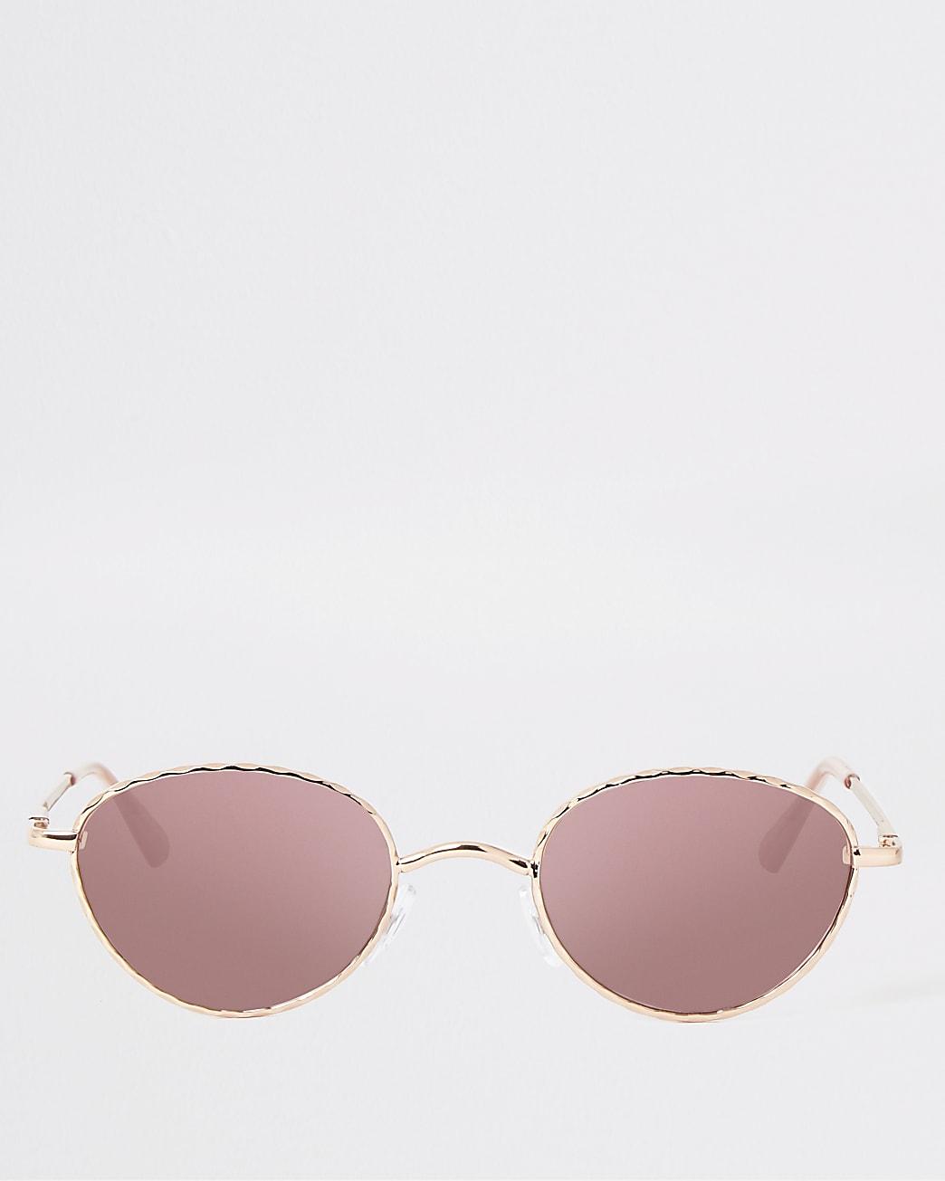 Rose gold tone slim twist sunglasses
