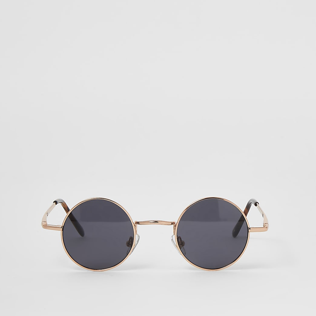Rose gold tone small round sunglasses