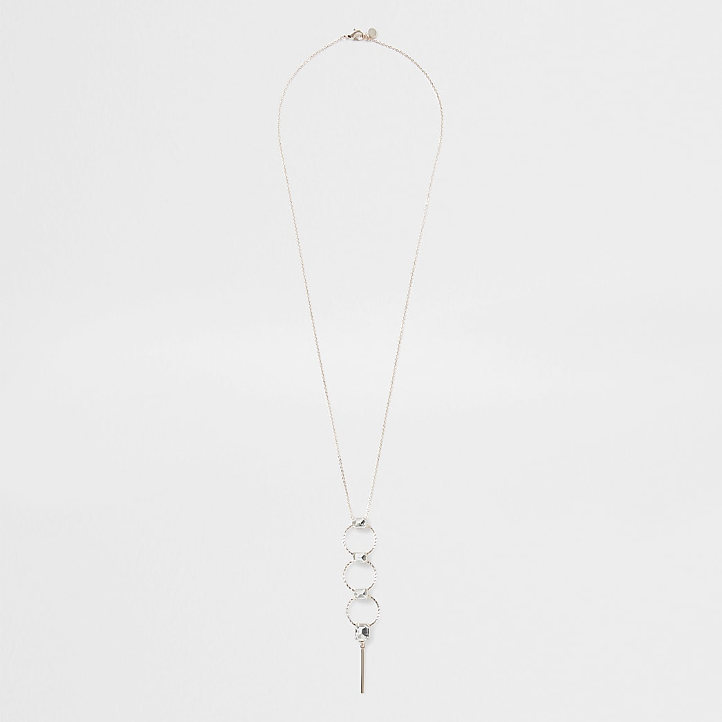 Rose gold triple circle gem long necklace