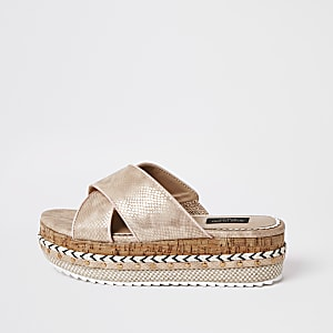 Rose gold wide fit flatform sandals