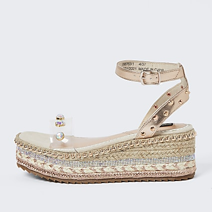 Rose gold wide fit platform sandals