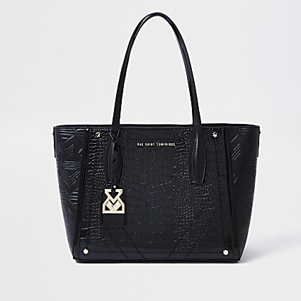 RSD Black Croc and Embossed Shopper Bag