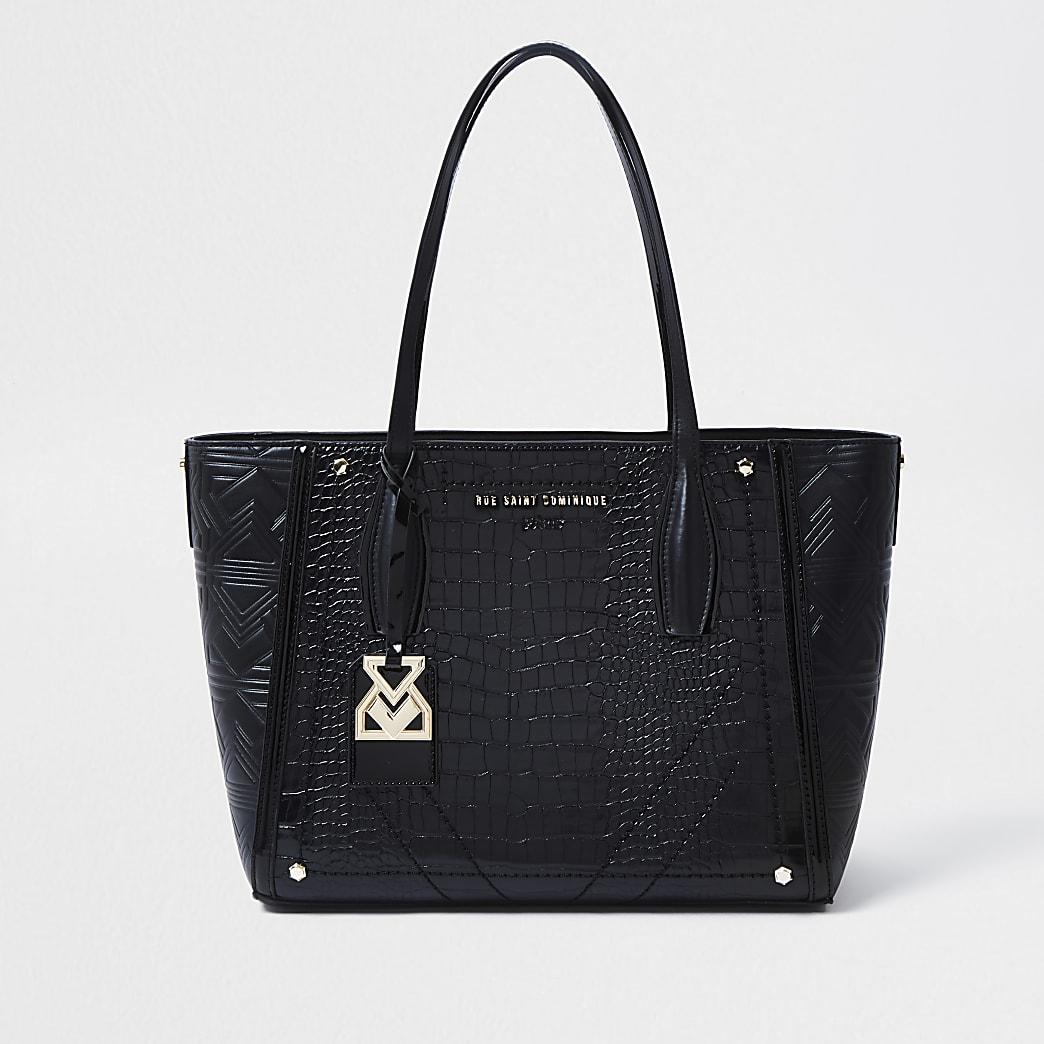 RSD Black Croc and Embossed Shopper Bag