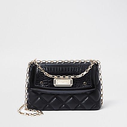 RSD Black croc and quilted shoulder bag