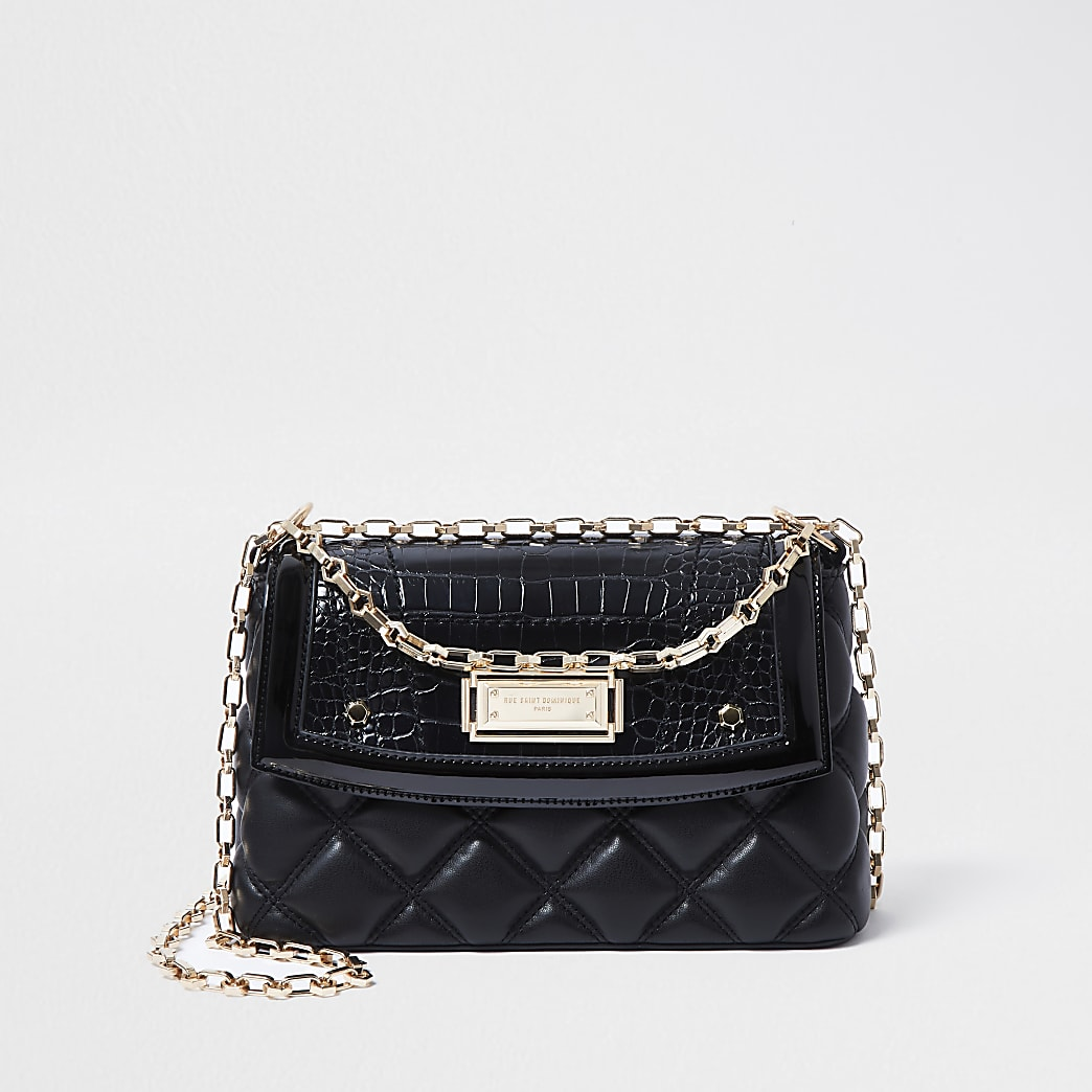 RSD Black croc and quilted shoulder bag