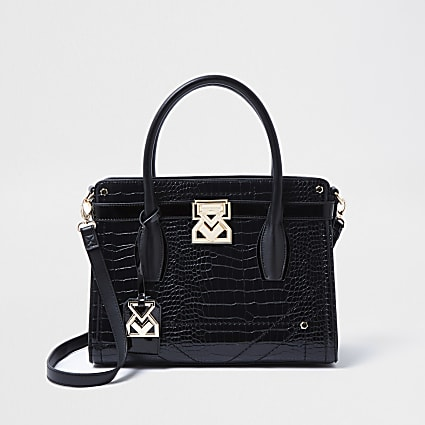 RSD Black Croc Embossed Tote Bag