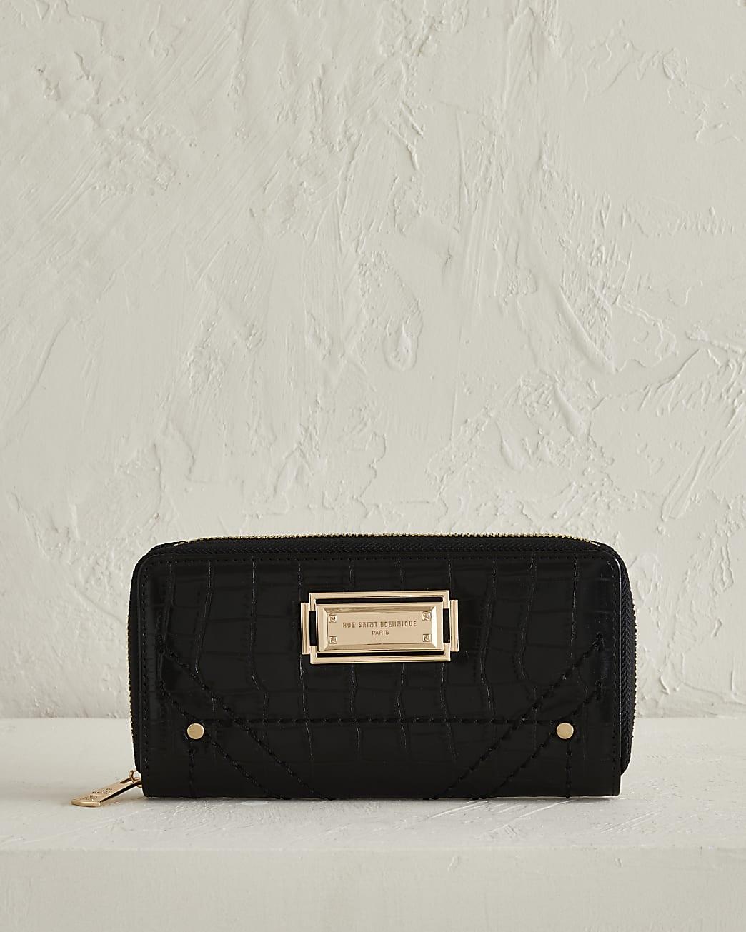 RSD black croc zip around purse