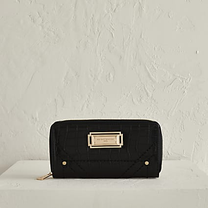 RSD black croc zip around purse