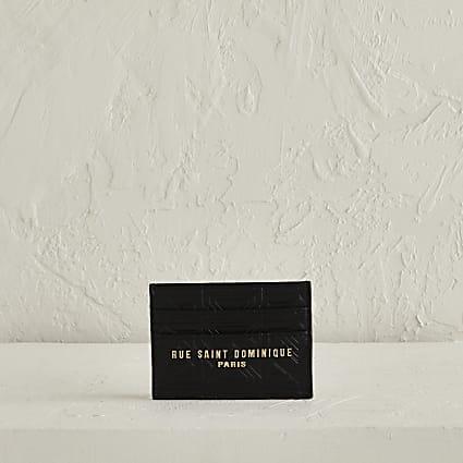 RSD Black Embossed cardholder in leather