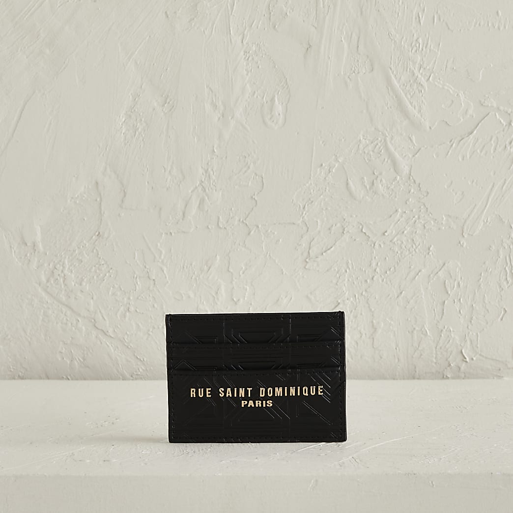 RSD Black Embossed cardholder in leather