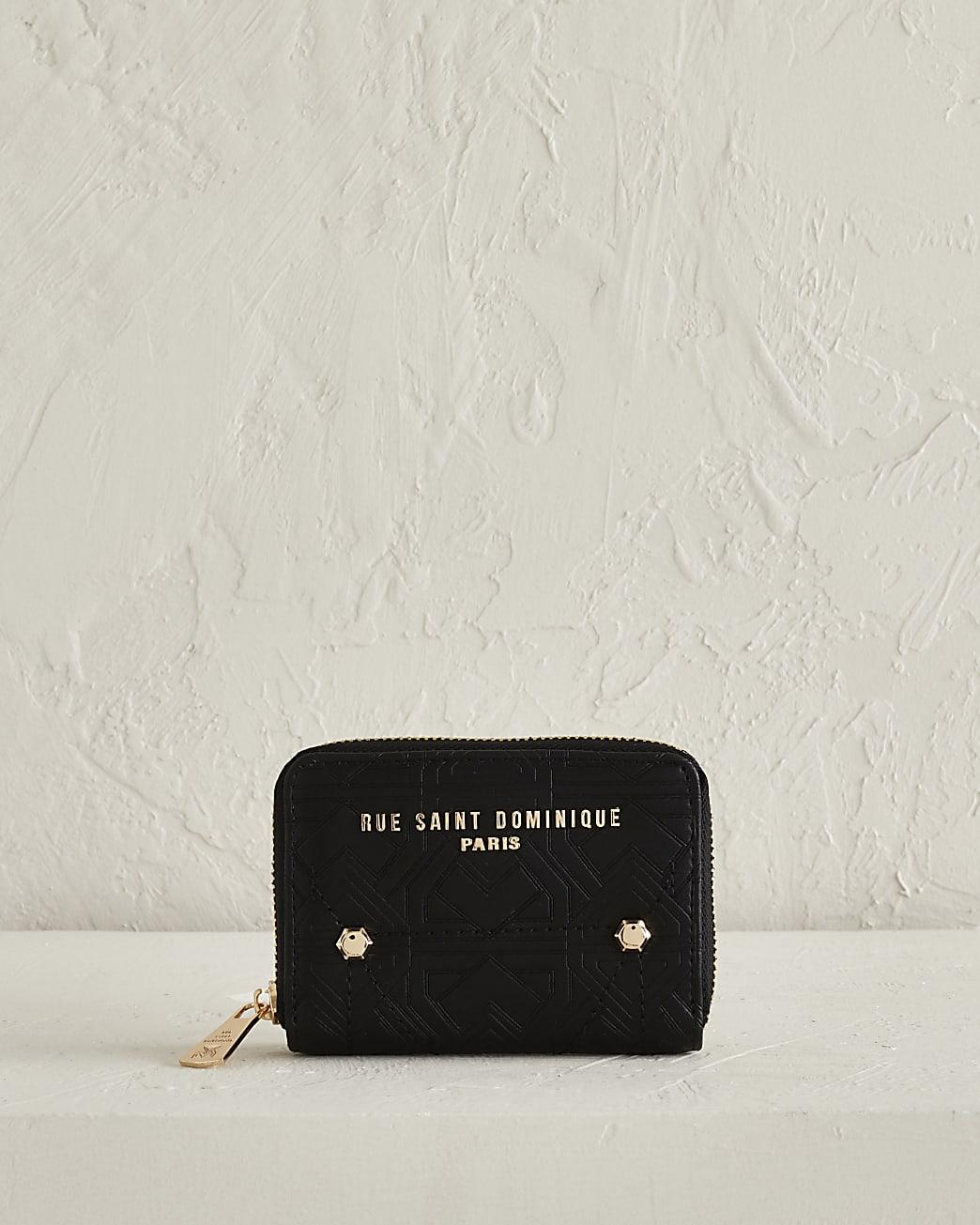 RSD black embossed small zip around purse