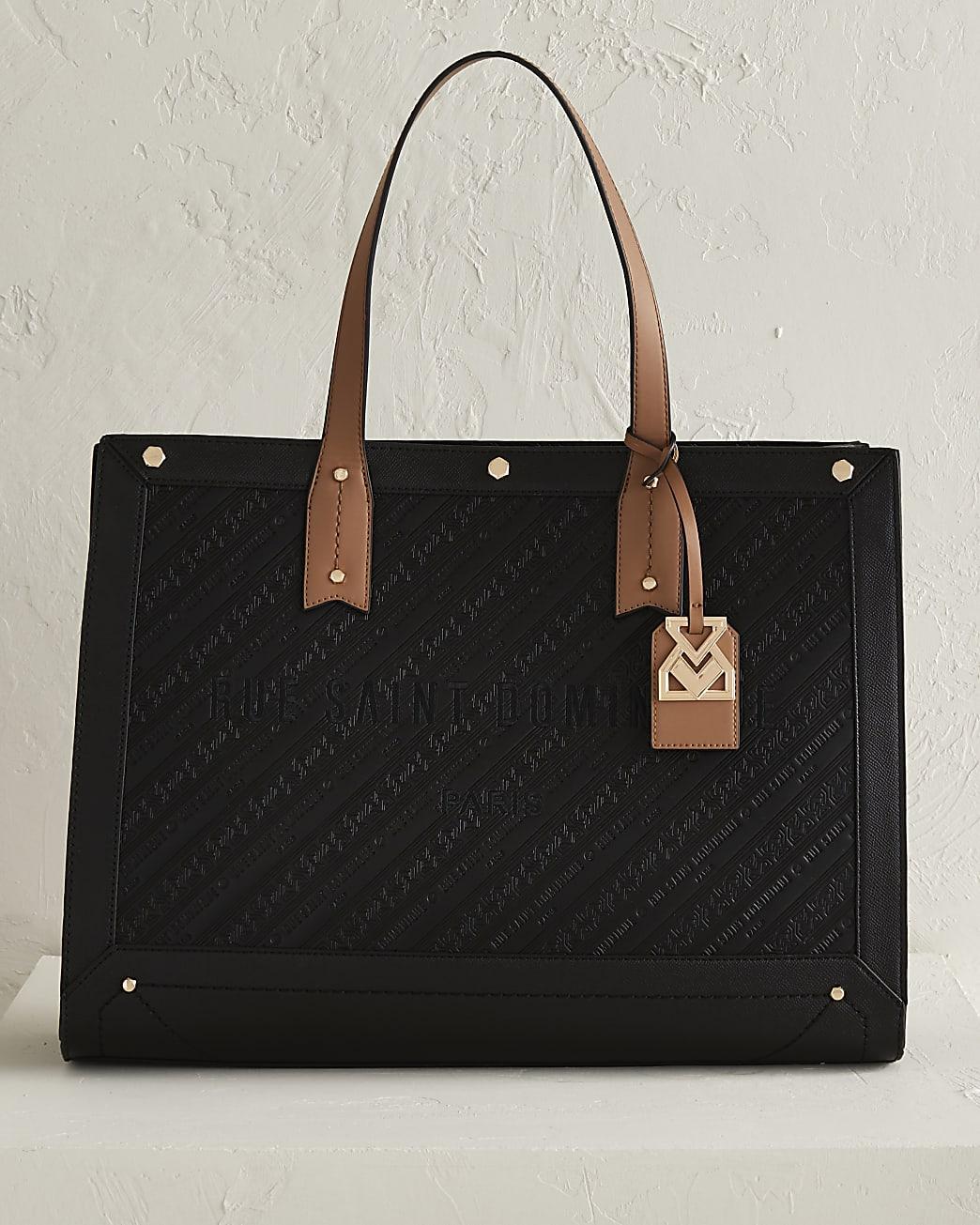 RSD black embossed square shopper bag