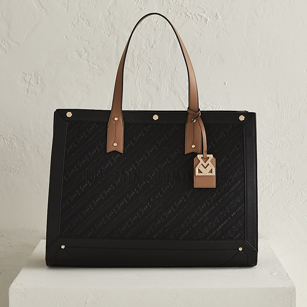 RSD Black Embossed Square Shopper Bag