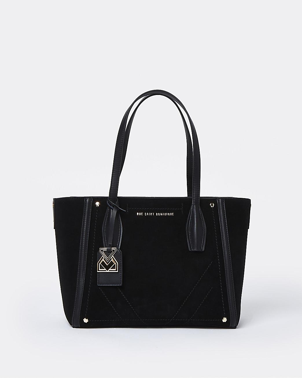 RSD black suede shopper bag
