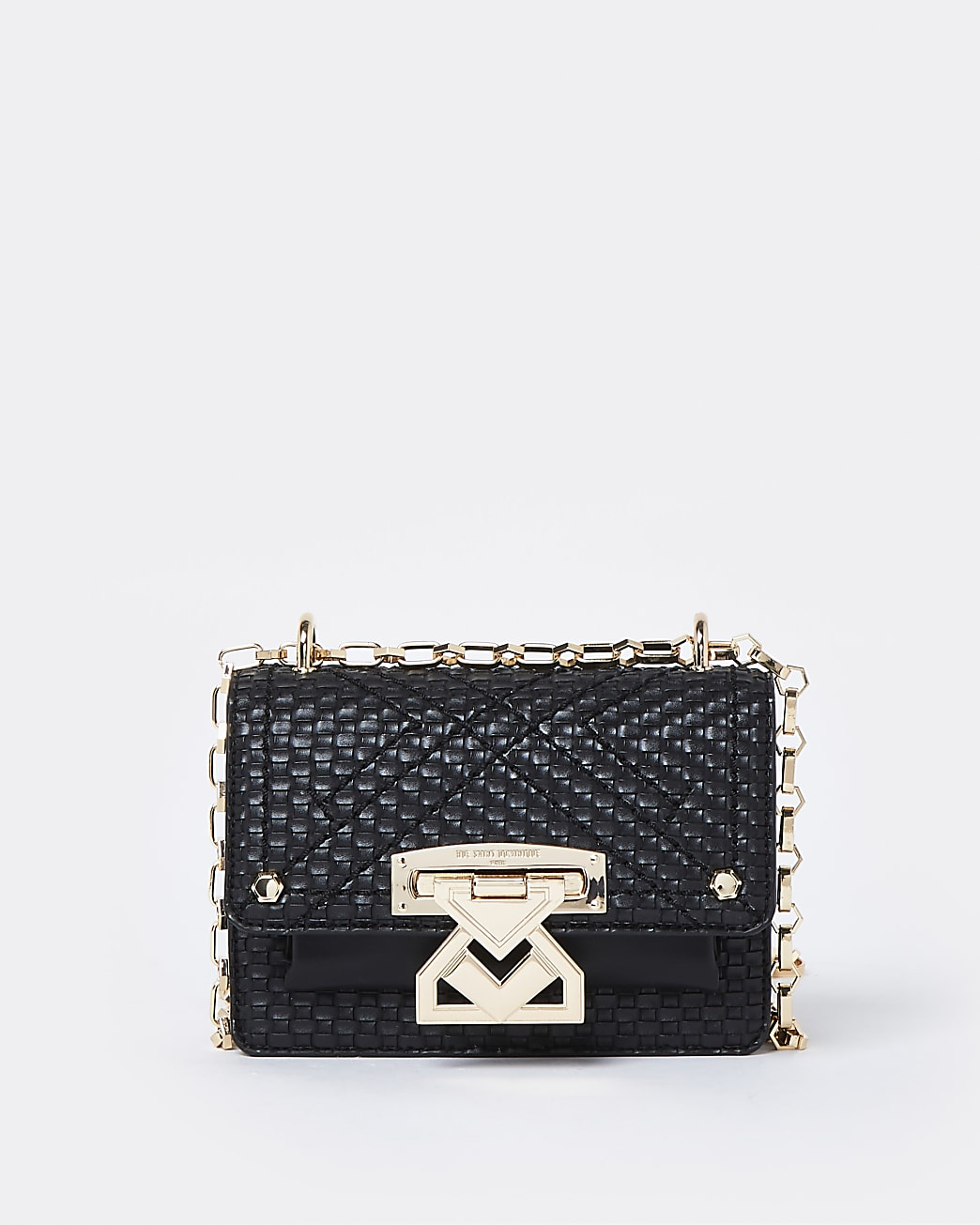 RSD black woven satchel with lock front
