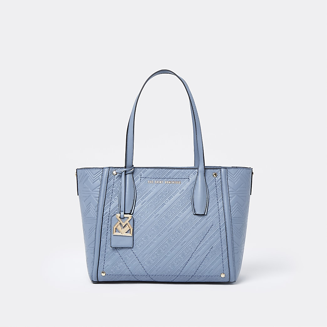 RSD Blue Embossed Monogram Shopper Bag
