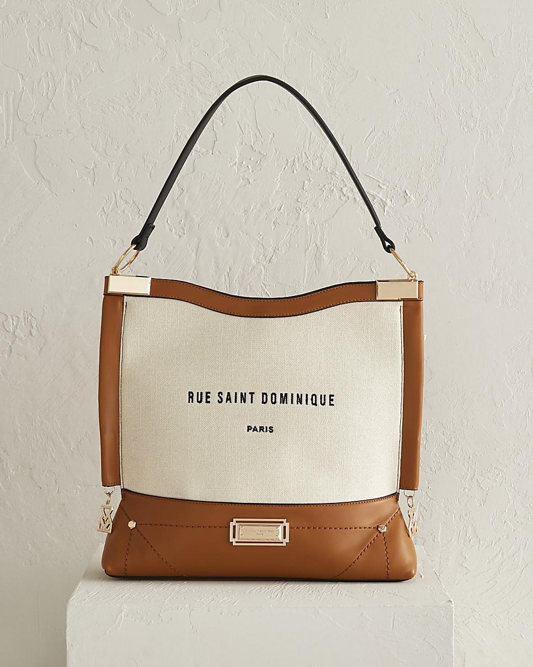 RSD brown metal corner slouch bag