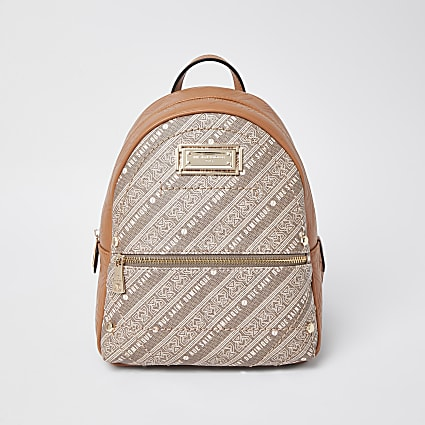 RSD Brown printed Backpack