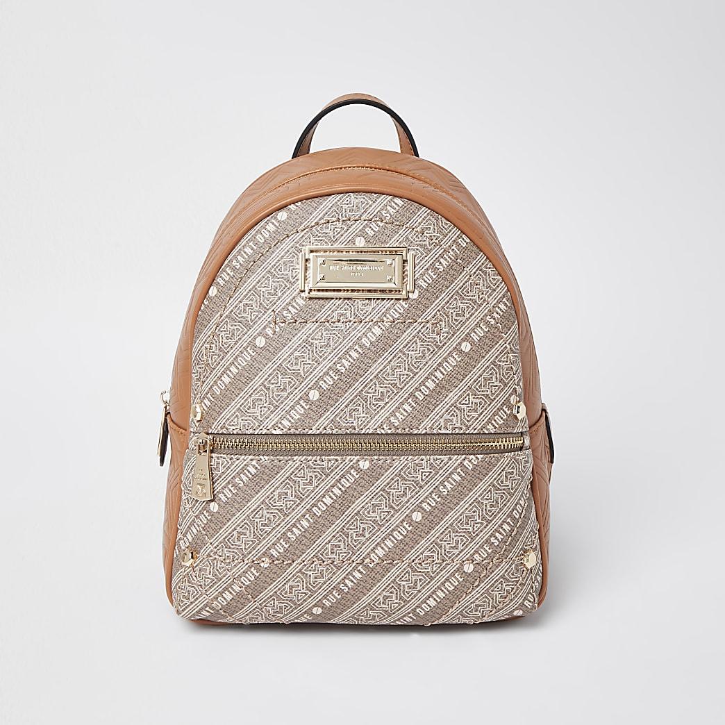 RSD Brown printed Backpack
