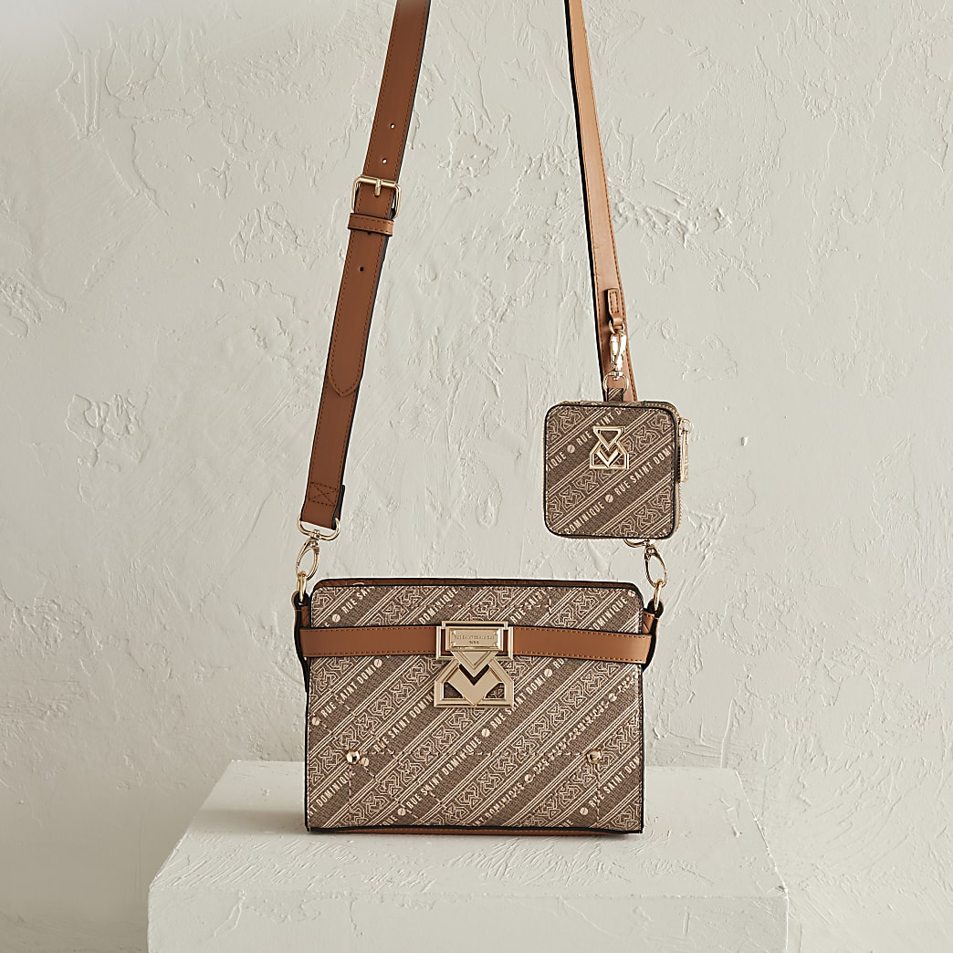RSD Brown Printed Boxy Bag with Pouch