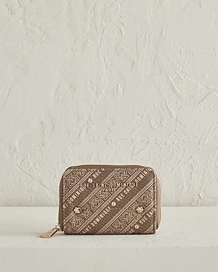 RSD brown printed small zip around purse