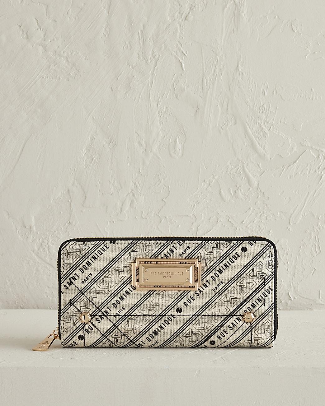 RSD cream printed zip around purse