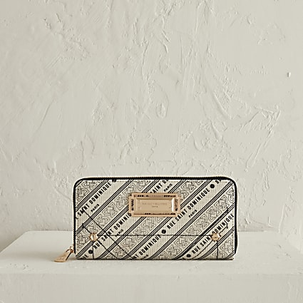 RSD cream printed zip around purse