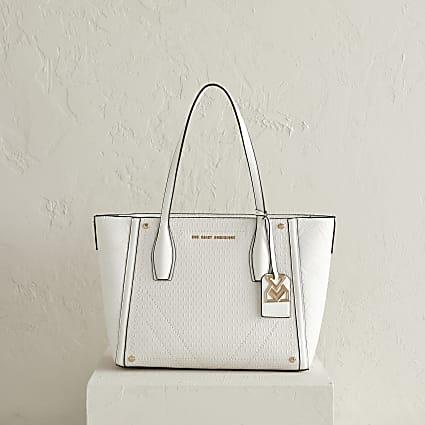 RSD white woven shopper bag
