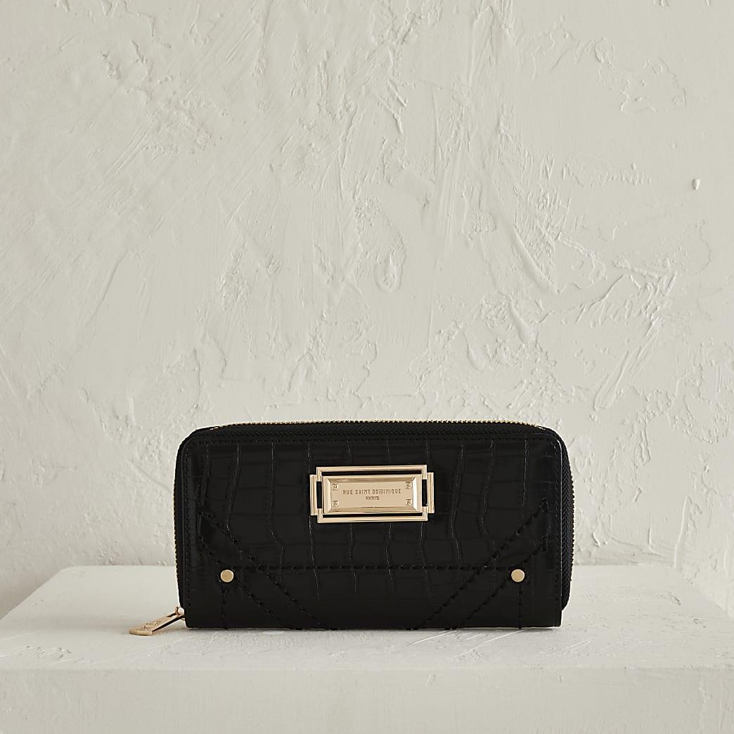 Rue Saint Dominique black zip around purse