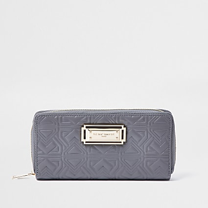 Rue Saint Dominique grey zip around purse