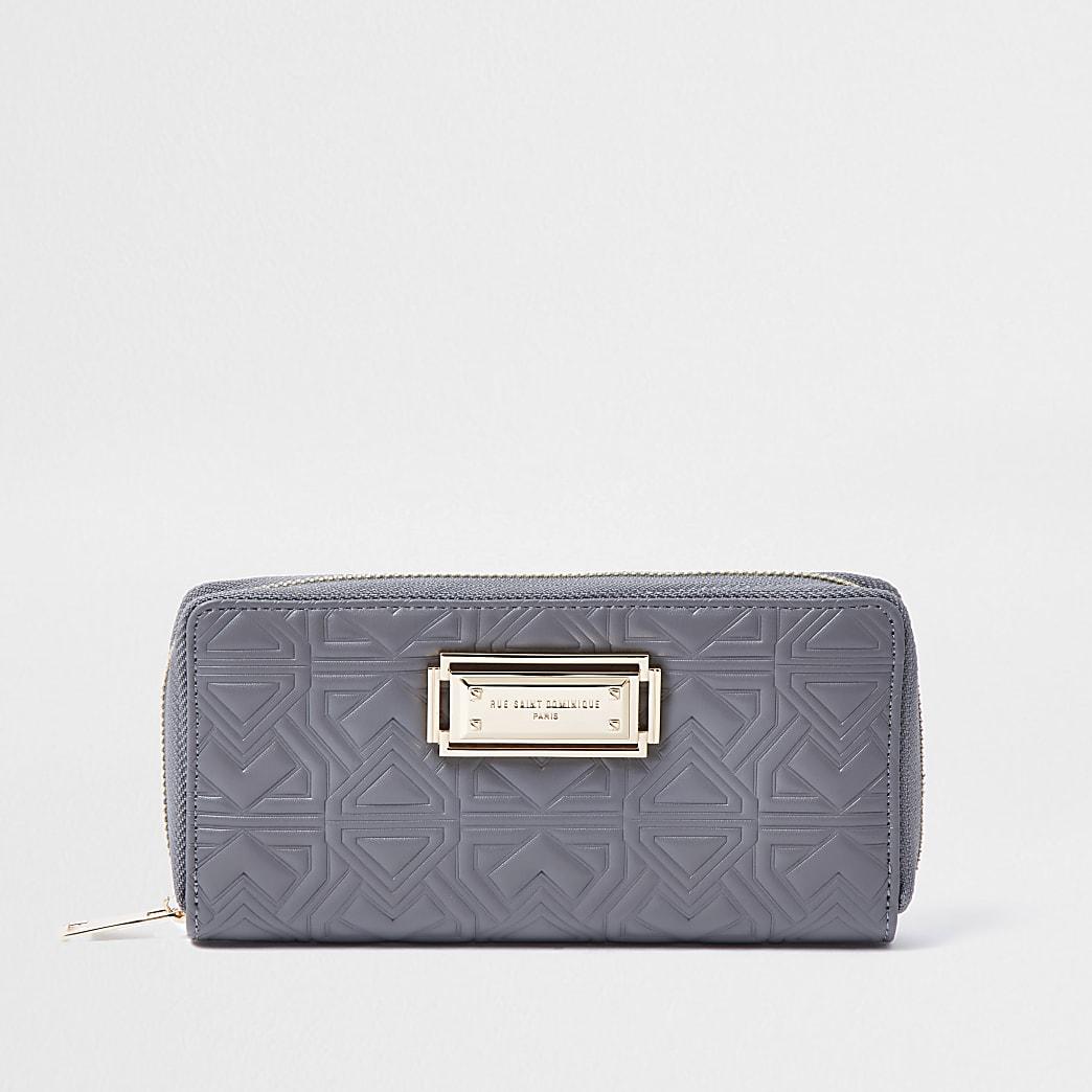 Rue Saint Dominique grey zip around purse