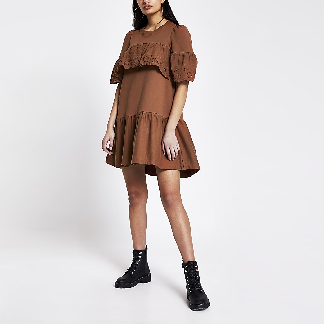 Rust broderie frill smock T-shirt dress